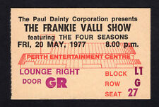 1977 Four Seasons Frankie Valli concert ticket Working My Way Back To You Perth