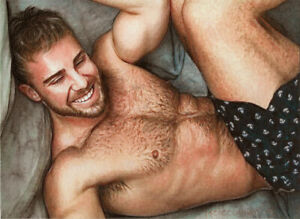 ORIGINAL Artwork Male Drawing Painting Gay Interest MCicconneT~ STEP BY STEP