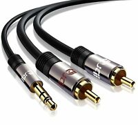 2m PRO OFC Stereo 3.5mm Jack Plug to TWIN 2 x RCA PHONO Audio Lead GOLD CABLE