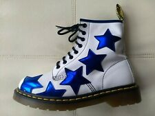 DOC DR. MARTENS STELLA METALLIC BLUE STARS WHITE LEATHER BOOTS RARE UNISEX 6UK