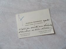 CARTE AUTOGRAPHE DE CHARLES BARRARD  1940