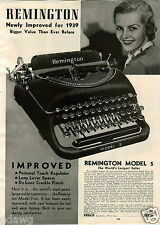 1939 PAPER AD 3 PG Remington Improved Typewriter Portable Desk New Noiseless