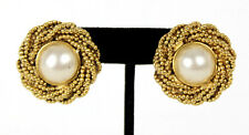 CHANEL Vintage Pearl & Braided Gold Metal Trim Clip Earrings