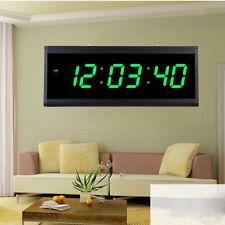 Hanging Digital Wall Clock LED Large Time DisplayClock for Elders-Green