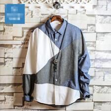Fashion Long Sleeve Slim Cotton Leisure T Shirt Tops Men's Color Stitching Y194