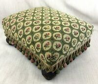 Antique Style Footstool Upholstered Petit Point Trellis Passementerie Trim Stool