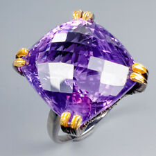 Vintage29ct+ Natural Amethyst 925 Sterling Silver Ring Size 8.75/R119696