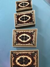 Wooden Nesting boxes (four), Lemonwood, inlaid, nicely patterned, Italian