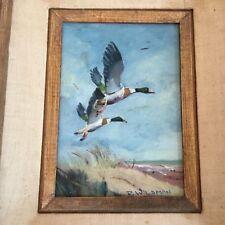 Nice Vintage Oil Painting Sheldrakes in Flight Duck Signed Wildman Jersey Shore