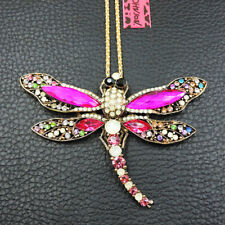 Rhinestone Colorful Dragonfly Crystal Pendant Betsey Johnson Chain Necklace