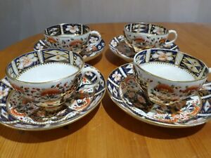 """Royal Crown Derby (Robert Bloor) - Set of 4 """"Cup & Saucers"""" - A/F"""