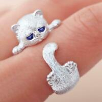 925 Sterling Silver Stamped White Gold Cute Kitty Cat Paw Adjustable Ring H L5Y2