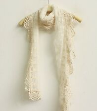 New Women Girls Lace Hollow Crochet Color Beige Embroidery Soft Cozy Scarf Shawl