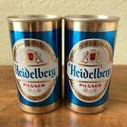 *LOT* STEEL VINTAGE Pull Tab Beer Cans, Heidelberg Pilsner Gold & Blue