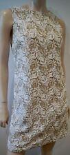 ALICE & OLIVIA Cream & Beige Beaded Sleeveless Short Mini Evening Dress 8 UK12