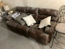 Sectional 3 Seat Faux Leather Sofa Couch - Brown - Must be willing to come get