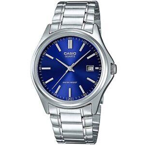 Casio Uhr MTP-1183PA-2A Herren Armbanduhr Edelstahl Silber Blau Datum NEU & OVP