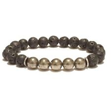 Men's Black Lava Hematite Beaded Bracelet Yoga Reiki Oil Diffuser