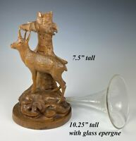 Antique HC Swiss Black Forest Mountain Goat & Tree, Glass Epergne, Vase