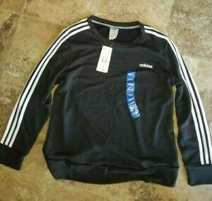 Womens Adidas Black French Terry 3 Stripe Crew Neck Pullover Sweatshirt Large L