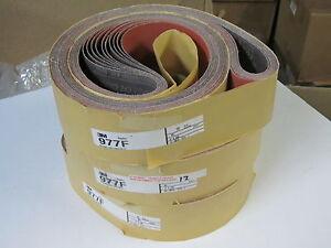 """10 pcs 3M Abrasive Sanding Belts 3"""" x 100"""" 977F Regalloy Cloth Grit Grade 80"""