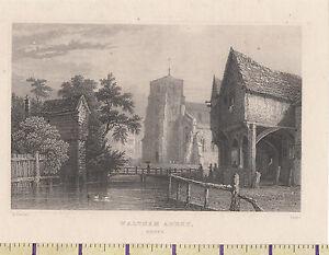 C1815 Antiguo Pequeño Georgiano Estampado ~ Waltham Abbey ~ Essex