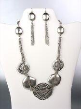 UNIQUE Chunky Designer Antique Silver Disks Chains Drape Necklace Earrings Set