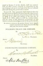 Rare Apr 1898 SIGNED Contract President Union Pacific RR & Pullman Palace Car Co