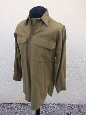 """WW2 U.S Army Olive Drab Wool Shirt 15"""" Collar Medium With Gas Flaps"""