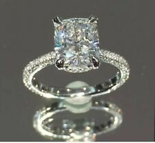 Engagement Ring 14K White Gold Certified 3.10Ct Cushion Cut Solitaire Gorgeous