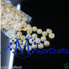 200pcs 8mm Champagne AB Flat Back Half Round Resin Pearls Scrapbook Gems C03