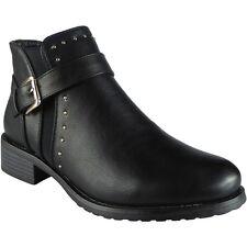 Womens Ladies Studs Buckle Strap Chelsea BOOTIES Low Heel Ankle BOOTS Shoes Size UK 6 / EU 39 / US 8 Black