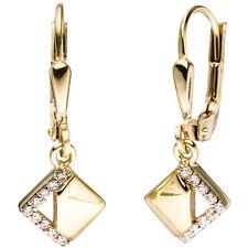 Damen Boutons quadratisch 333 Gold Gelbgold bicolor Zirkonia Ohrringe Ohrhänger