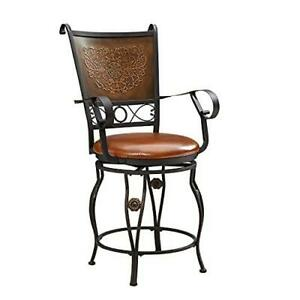 Powell Company Big and Tall Copper Stamped Back Arms Counter Stool, Brown