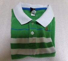 Boys Baby GAP Pique Polo Teddy Bear Logo Green White Striped Preppy Shirt Sz 2T