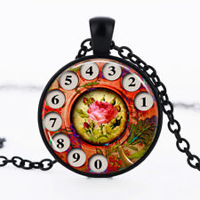 Phone Rotary Dial Black Dome Glass Cabochon Necklace chain Pendant #383