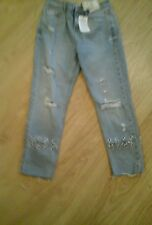 BNWT SIZE 8 HIGH RISE GIRLFRIEND  JEANS CHAIN DETAIL  VERY UNUSUAL