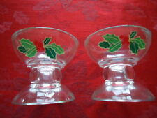 Avon (2) Glass Candle Holders With Holly Motif Tapper or Votive 3 ¼� Diameter x