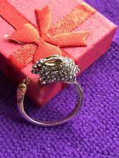 Cute Rabbit And Carrot Diamond Style Gems Silver Metal S925 Size P New In Box