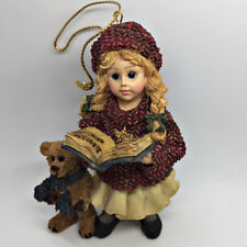 Boyds Dollstone Christmas Ornament Megan w/ Elliot Bear Carol Book Sweater 1995