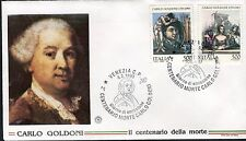 ITALY 1993 GOLDONI/PLAYWRIGHT/THEATER/HARLEQUIN COSTUME/LITERATURE/COMEDY FDC