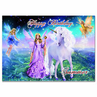 c249; Large Personalised Birthday card; Custom made for any name; Unicorn Fairy