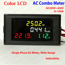 Color LCD AC 220V~450V 230V 240V LED Voltmeter Panel Volt Amp Watt Combo Meter