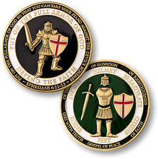 "Armor of God ""Defend the Faith"" - Brass Challenge Coin 6:11 - 6:13"