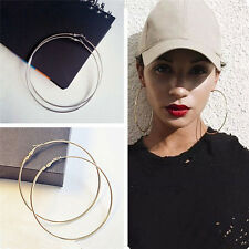Fashion Women Gold Metal Big Circle Smooth Large Ring Hoop Earrings Chic 7CM