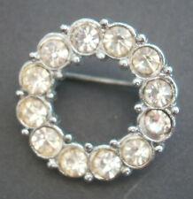 AR188) Vintage small silver tone metal round rhinestone glass Deco Style brooch