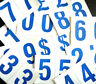 """75mm 3"""" Blue on White Sticky Numbers, Numbering Stickers, Plastic Labels"""