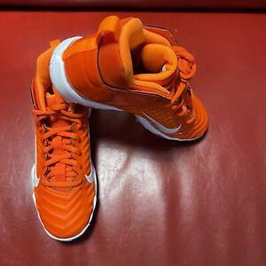 Nike Kid Menace 2 Shark NEW AQ7654-800 Orange White Baseball Cleats Youth Size 3