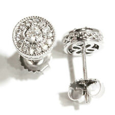 0.4 ctw Natural Diamond (G-H, SI) Solid 14k White Gold Round Halo Stud Earrings