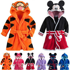 Boys Girls Hooded Bath Robe Dressing Gown Kids Cartoon Mickey Animals Nightwear